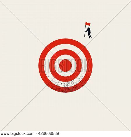 Business Objective, Target Vector Concept. Symbol Of Goals, Vision, Ambition And Innovation. Minimal