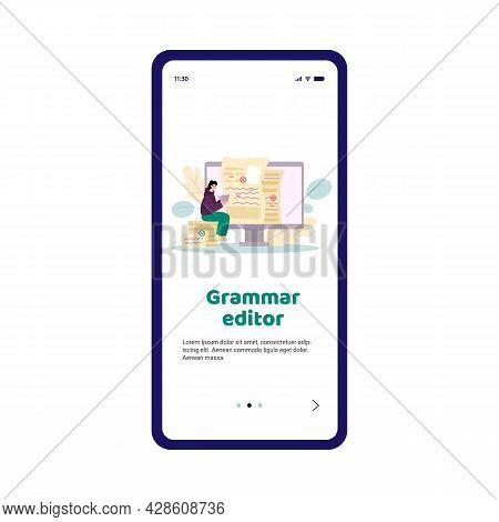 Grammar Editor Mobile App Screen Template, Cartoon Flat Vector Illustration.