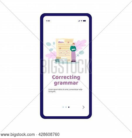 Grammar Correction And Spells Editor App Screen, Flat Vector Illustration.