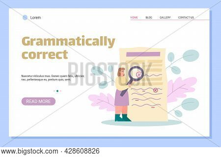 Grammar Editor And Copywriting Services Web Banner, Flat Vector Illustration.