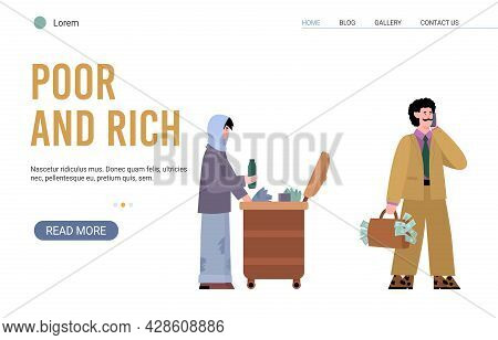 Website On Topic Of Gap Between Rich And Poor, Flat Vector Illustration.