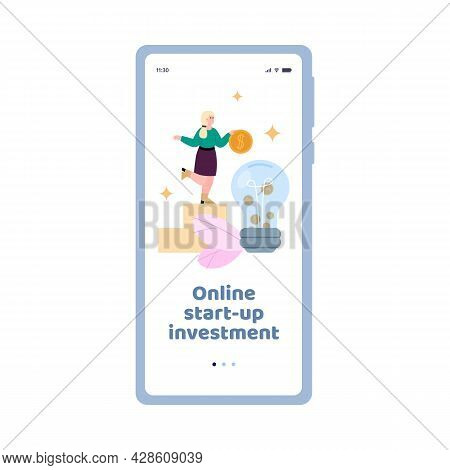 Mobile App For Online Crowdfunding, Investment To Business Ideas Via Internet.
