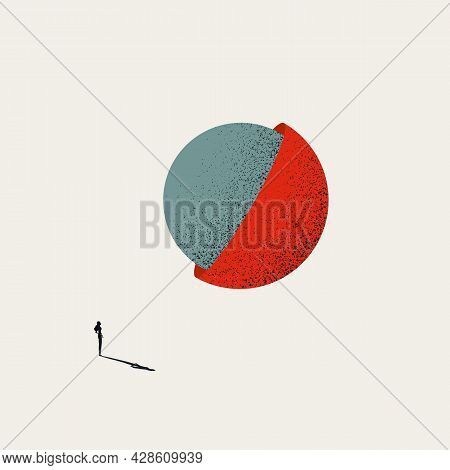 Discovery And Exploration By Woman Business Vector Concept. Symbol Of Success, Reveal, Innovation. M