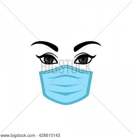 Woman olive green eyes with eyebrows and eyelashes and air pollution face mask isolated on white background, woman wearing medical virus mask, coronavirus