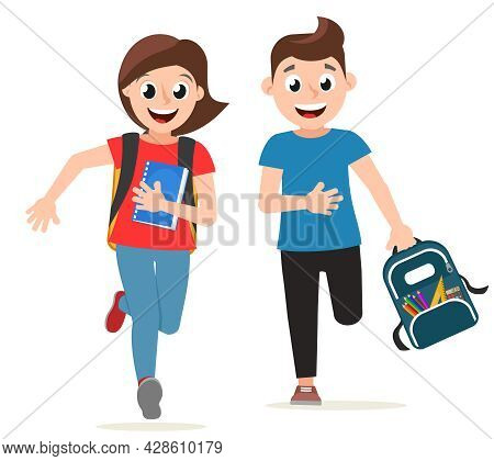 Schoolchildren Boy And Girl Run To School On A White Background. The Character