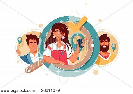 Icon Of Happy Hr Managers Candidate Searching. Isolated Concept Businessman And Businesswoman Charac