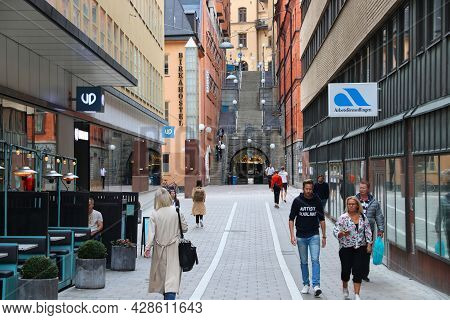 Stockholm, Sweden - August 23, 2018: People Visit Tunnelgatan Street In Norrmalm District, Stockholm