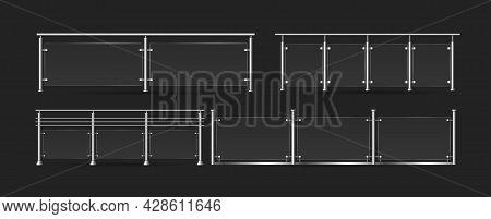 Section Of Glass Fences Set, 3d Handrails Acrylic Fencing Collection, Plexiglass Railing