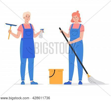 Cleaning Company Staff With The Equipment. Cleaning Service, Women With Window Cleaner Tool And Mop