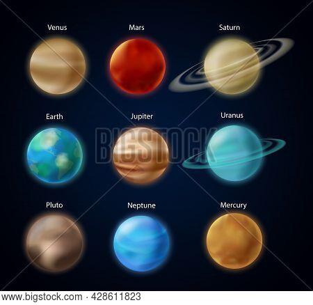 Solar System Planets, 3d Earth Mars Mercury Saturn Uranus Jupiter Venus Neptune In Sky