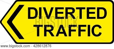 Diverted Traffic Sign. Black On Yellow Background. Traffic Signs And Symbols.