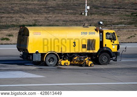 Istanbul, Turkey - March 28, 2019: Airport Runway Cleaning. Airfield Concrete And Asphalt Surface Cl