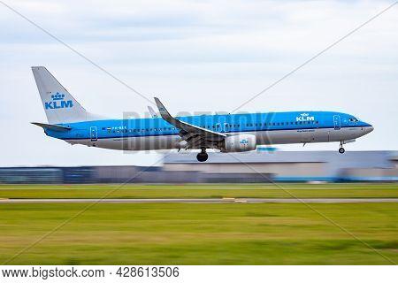 Amsterdam, Netherlands - August 14, 2014: Klm Passenger Plane At Airport. Schedule Flight Travel. Av
