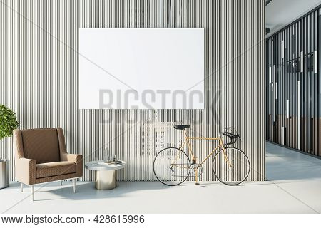 Modern Hipster Office Interior With Bike, Empty Poster On Partition Wall And Furniture. Mock Up, 3d