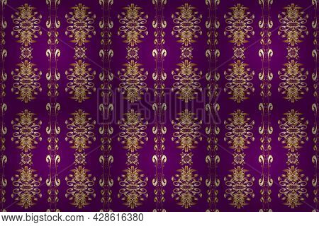 Golden Element On Beige, Purple And Brown Colors. Antique Golden Repeatable Wallpaper. Damask Seamle