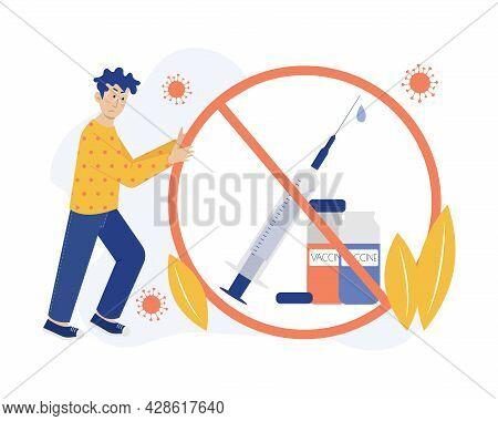 Refusal Of Vaccination Vector Concept Illustration. Man Moves Refusal Symbol. Healthcare Metaphor. F