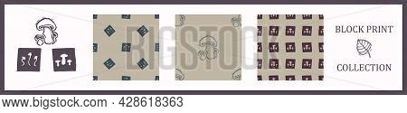 Seamless Background Block Print Collection Mushroom Set Of 3 Patterns With Motif Rustic Babies Silho