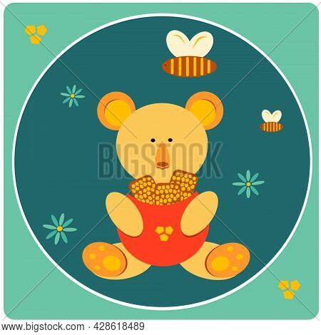 Children's Illustration Of A Bear With Honey. Bees. Honey. The Bear Is Holding A Honeycomb. The Bees