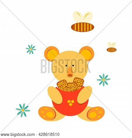 Children's Illustration Of A Bear With Honey. Bees. Honey. Chamomile. The Bear Holds The Honeycomb.