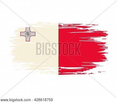 Maltese Flag Brush Grunge Background. Vector Illustration.