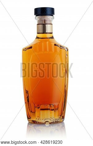 A Bottle Of Booze On A White Background