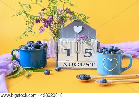 Calendar For August 15 :the Name Of The Month Of August In English, Cubes With The Number 15, Bluebe