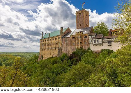 Wartburg Castle, Germany, Thuringia. View Of The Central Part Of The Castle