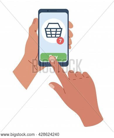 Hand Holing Smart Phone With Buy Button On The Screen. E-commerce Flat Design Concept. Using Mobile