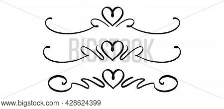 Hand drawn love divider. Doodle dividers in black. Handwritten love decor. Romantic frame in sketch style. Stock vector EPS 10