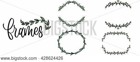 Hand drawn doodle frame. Round frame with flowers. Transparent hand drawn circle in sketch style. Doodle circle in handwritten style. Vector EPS 10