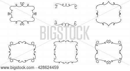 Hand drawn doodle frame. Square frame in sketch. Transparent hand drawn decor. Outline vintage decoration. Vector EPS 10