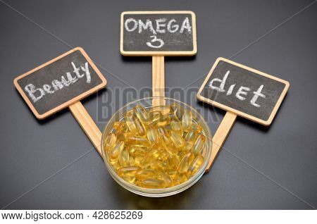 Conceptual Image Fish Oil Capsules And Lettering Omega 3, Beauty And Diet