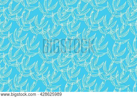 Vector Elegant Floral Seamless Pattern In Natural Farmhouse Style With Cute Simple Branches, Flowers