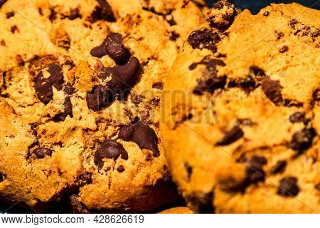 Chocolate Cookies. Chocolate Chip Cookies Shot Close Up