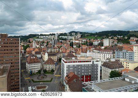 La-chaux-de-fonds, Switzerland - July 7th 2021: Mixed Architecture In The Inner City Core.