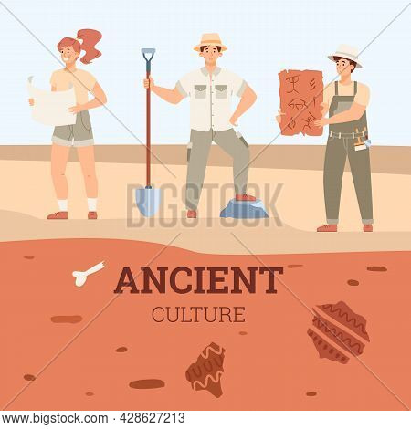 Archaeologists Or Treasure Hunters Search Ancient Artifacts, Bones Fossil Animals