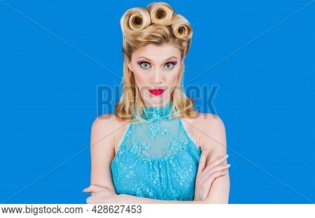 Pin Up Girl With Trendy Makeup. Retro Woman With Vintage Make-up And Hairstyle.