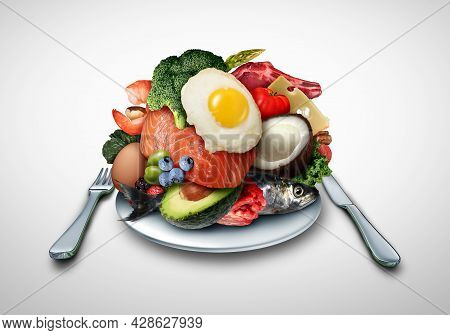 Ketogenic Eating And Keto Nutrition Lifestyle Diet Low Carb And High Fat Meal As Fish Nuts Eggs Meat