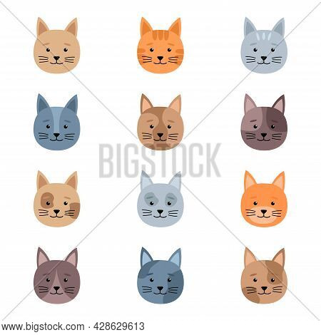 Set Of Cute Cats Heads, Vector Illustration