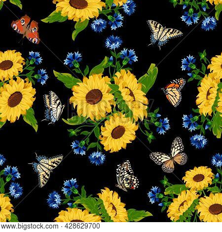 Pattern With Cornflowers And Sunflowers.cornflowers, Sunflowers And Butterflies On A Black Backgroun