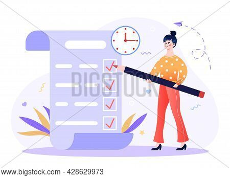 Time Management, Work Planning, Organization Of Daily Goals, Accomplishments Concept. Woman With Pen