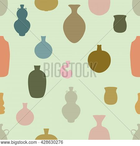 Seamless Pattern Backdrop With Set Of Abstract Ceramic Vase Shapes. Various Pottery Ceramic Jugs In