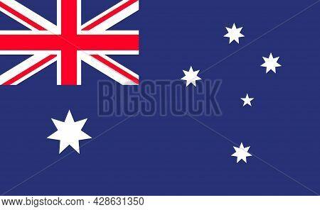 Australia Flag. Australian Cross With Star. National Emblem Of Australia. Official Icon Of Aussie, M