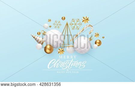 Merry Christmas And Happy New Year Background. Gold And White 3d Objects Holidays Composition. Chris