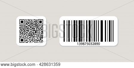 Qr Code And Barcode Icon. Qrcode For Scan. Tag For Price, Sku And Data On Product. Different Logo Fo