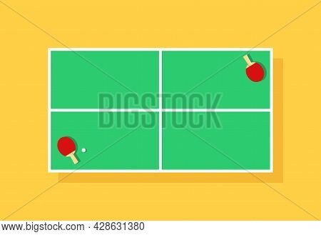 Table Tennis. Table For Ping Pong Top View With Racket And Ball. Game And Tournament. Green Cartoon