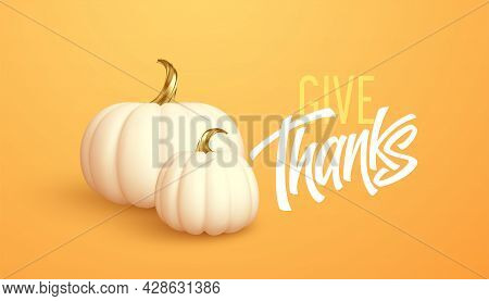 3d Realistic White Gold Pumpkin Isolated On Orange Background. Thanksgiving Background With Pumpkins