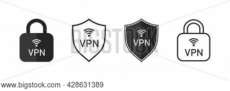 Vpn Icon. Shield And Lock With Vpn Icon. Safe For Wifi And Server. Logo For Protect Of Private Netwo