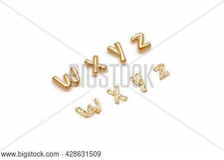 Inflated, Deflated Gold W X Y Z Letters, Balloon Font, 3d Rendering. Decor Golden Helium Typeset For
