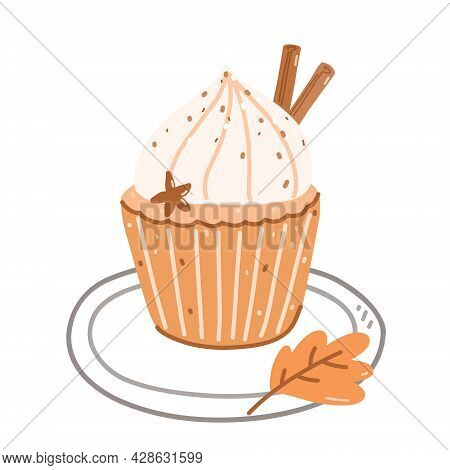 Pumpkin Cupcake With Cream Cheese Frosting Decorated Cinnamon And Anise. Vector Hand-drawn Illustrat